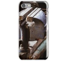 Vintage vise on the wooden table iPhone Case/Skin
