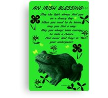 Froggy in Clover... or Shamrocks? Canvas Print