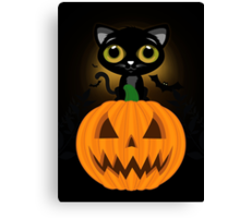 Black Kitten & Jack O Lantern Canvas Print