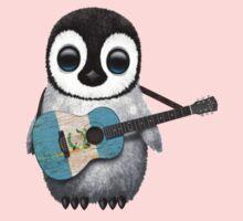 Baby Penguin Playing Guatemalan Flag Guitar Kids Clothes