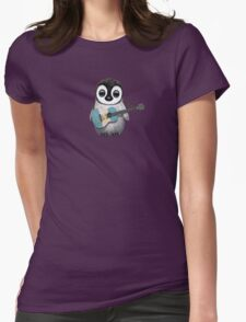 Baby Penguin Playing Guatemalan Flag Guitar Womens Fitted T-Shirt