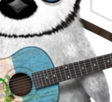 Baby Penguin Playing Guatemalan Flag Guitar Sticker