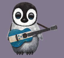 Baby Penguin Playing Honduran Flag Guitar Kids Clothes