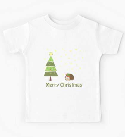 Cute hedgehog Christmas Scene Kids Tee