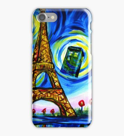 tardis starry night in paris  iPhone Case/Skin