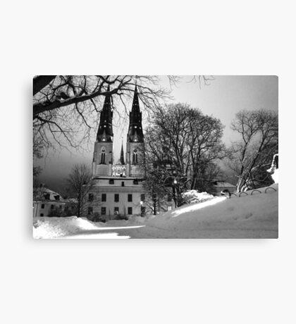 Uppsala Cathedral, Black and white winter wonderland Canvas Print