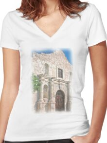Alamo Facade Women's Fitted V-Neck T-Shirt