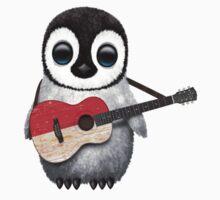 Baby Penguin Playing Indonesian Flag Guitar Kids Tee