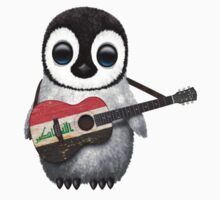 Baby Penguin Playing Iraqi Flag Guitar One Piece - Long Sleeve