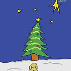 Christmas Tree And Dog Christmas Card by Diana Graves Photography