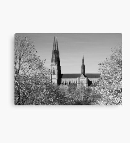 Uppsala Cathedral, Black and White Canvas Print