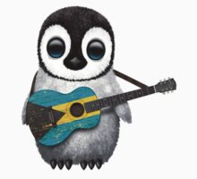 Baby Penguin Playing Bahamas Flag Guitar Kids Clothes