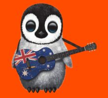 Baby Penguin Playing Australian Flag Guitar Kids Clothes