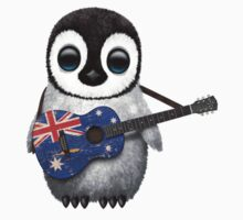 Baby Penguin Playing Australian Flag Guitar Kids Tee