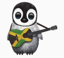 Baby Penguin Playing Jamaican Flag Guitar Kids Clothes