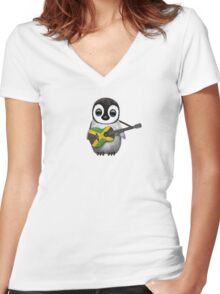 Baby Penguin Playing Jamaican Flag Guitar Women's Fitted V-Neck T-Shirt