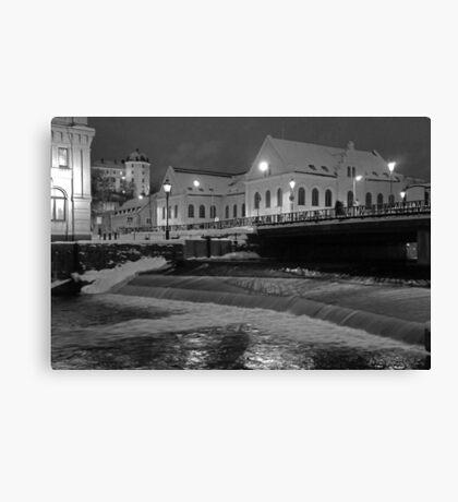 Uppsala, Fyris river, winter Canvas Print