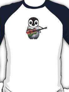 Baby Penguin Playing Kenyan Flag Guitar T-Shirt