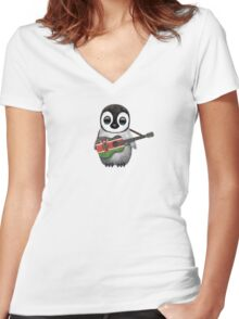 Baby Penguin Playing Kenyan Flag Guitar Women's Fitted V-Neck T-Shirt