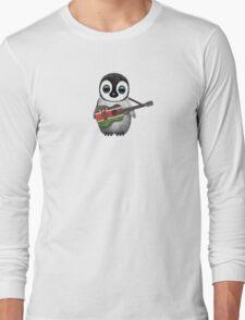 Baby Penguin Playing Kenyan Flag Guitar Long Sleeve T-Shirt