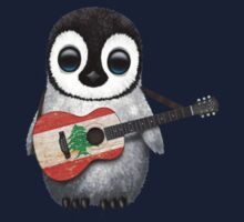 Baby Penguin Playing Lebanese Flag Guitar Kids Clothes
