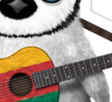 Baby Penguin Playing Lithuanian Flag Guitar Sticker
