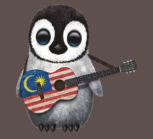 Baby Penguin Playing Malaysian Flag Guitar Kids Clothes