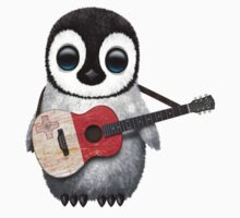Baby Penguin Playing Maltese Flag Guitar One Piece - Short Sleeve