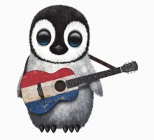 Baby Penguin Playing Dutch Flag Guitar Kids Clothes