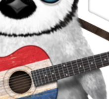 Baby Penguin Playing Dutch Flag Guitar Sticker