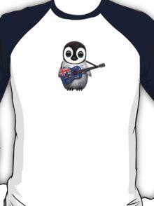 Baby Penguin Playing New Zealand Flag Guitar T-Shirt