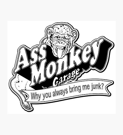 Ass Monkey Garage Photographic Print