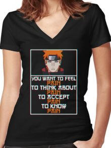 Pain quote v2 Women's Fitted V-Neck T-Shirt