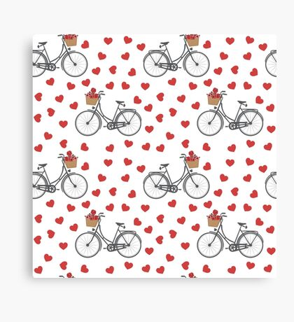 Vintage bicycles and love hearts Canvas Print