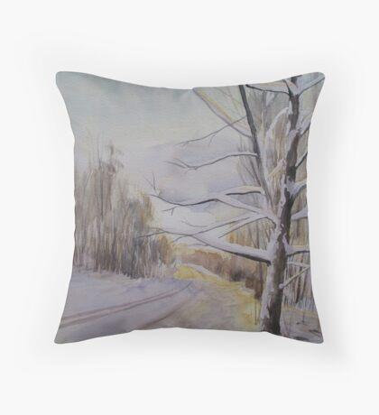 Last Winter Sunset Snow Scene Throw Pillow