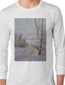 Last Winter Sunset Snow Scene Long Sleeve T-Shirt