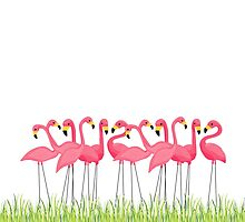 Pink Flamingos Illustration by junkydotcom