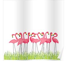 Pink Flamingos Illustration Poster