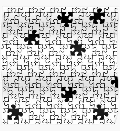 The Missing Piece - Abstract Jigsaw Puzzle Black and White Poster