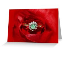 Real Emerald and Diamond Ring  Greeting Card