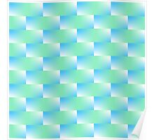 Blue and Blue Green Pattern Poster
