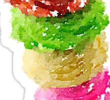 Multi Scoop Ice Cream Cone Watercolor Sticker