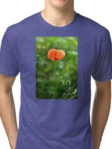Red Poppy Flower in the Field Tri-blend T-Shirt