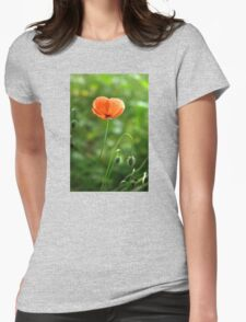 Red Poppy Flower in the Field Womens Fitted T-Shirt