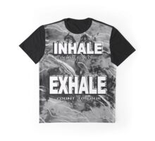 Inhale Exhale White and Black Graphic T-Shirt