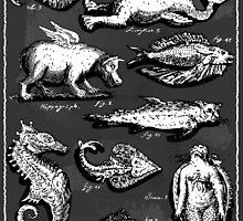 Mythological Creatures on Blackboard by aurielaki