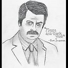 Ron Swanson - Please & Thank You - Sketch - Parks and Recreation by designedbyn