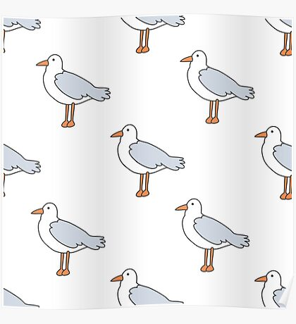 seagull doodle pattern Poster