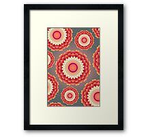 Red yellow floral abstract texture Framed Print