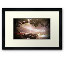 landscape waterfall lake river Framed Print